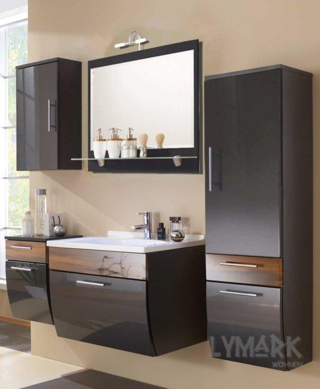 badm bel set marina hochgl anthrazit walnuss 5tlg 82. Black Bedroom Furniture Sets. Home Design Ideas