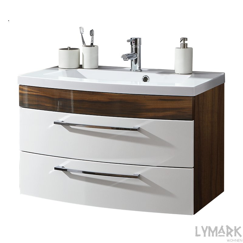waschplatz 80 roma hochglanz wei walnuss inkl minera. Black Bedroom Furniture Sets. Home Design Ideas