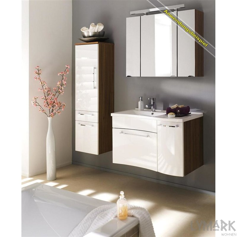gro er waschplatz lotta hochglanz wei walnuss. Black Bedroom Furniture Sets. Home Design Ideas