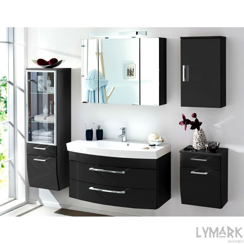 neu gro es badm belset roma 100 hochgl anthrazit. Black Bedroom Furniture Sets. Home Design Ideas